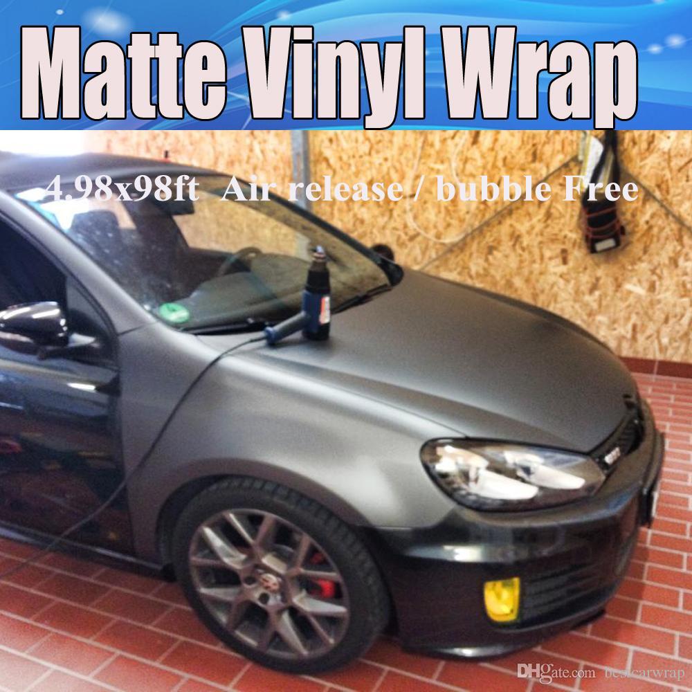 Metallic Matt Grey Gunmetal Gray Vinyl Bilförpackning Film med luftavlopp Bilklistermärken Foile Wrapping Storlek: 1,52 * 30m Roll Gratis frakt