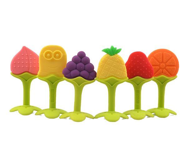 6 Diseños de Silicona Bebé Mordedor Juguetes Forma de Fruta Bebé Juguetes Infantiles Seguro de Silicona Dentición Juguetes Cepillo de Dientes Regalos de Entrenamiento Al Por Mayor de 60 UNIDS