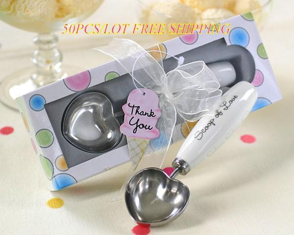 Wedding Gift Scoop Of Love Heart-shaped Ice Cream Scoop For Bridal shower favors and wedding souvenirs 50pcs/lot Free Shipping