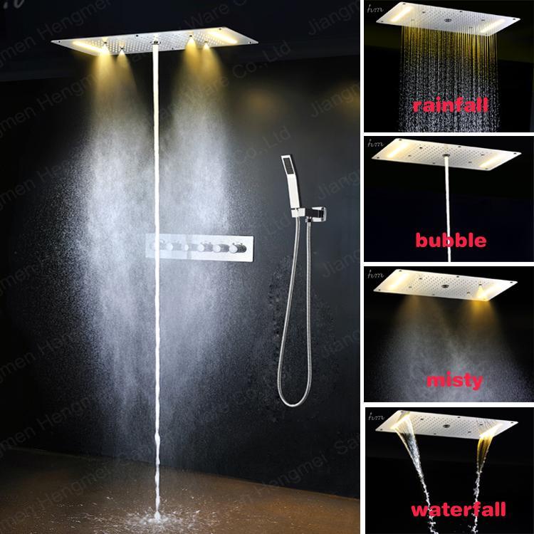 Panel de ducha Multi función de acero inoxidable LED lluvia Sistema de ducha de masaje Sistema de masaje Faucet Polish Bathtub Collum Columna