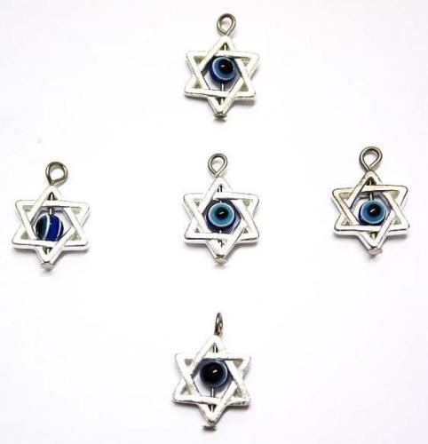 Free Ship 100Pcs Silver Star Evil Eye Kabbalah Charms Pendant For Bracelets DIY
