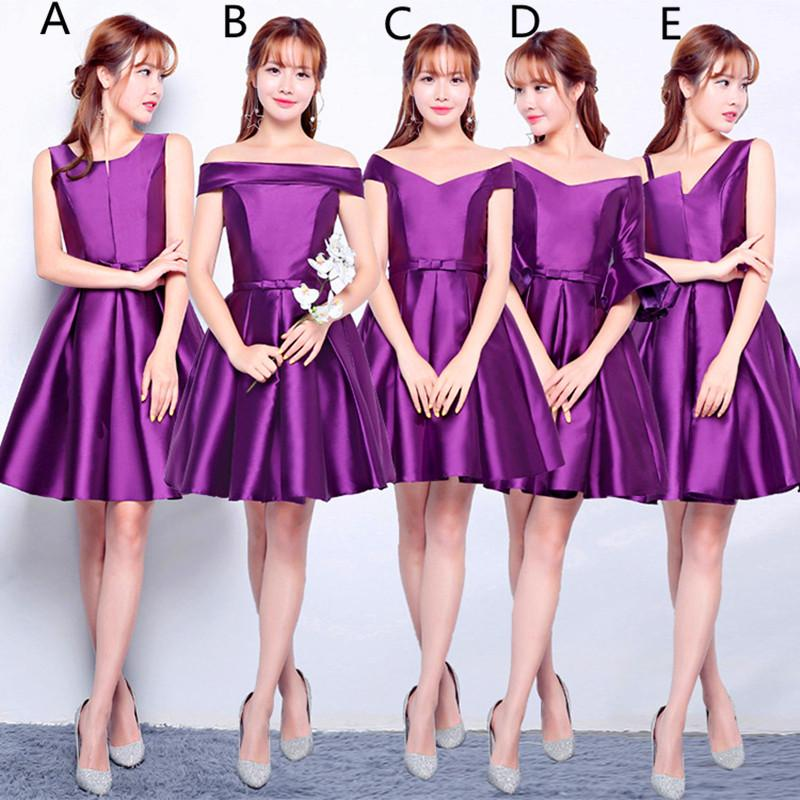 Satin Short Bridesmaid Dresses Lace Up 2019 Knee Length Ball Gown Wedding Guest Dresses Purple Red Silver
