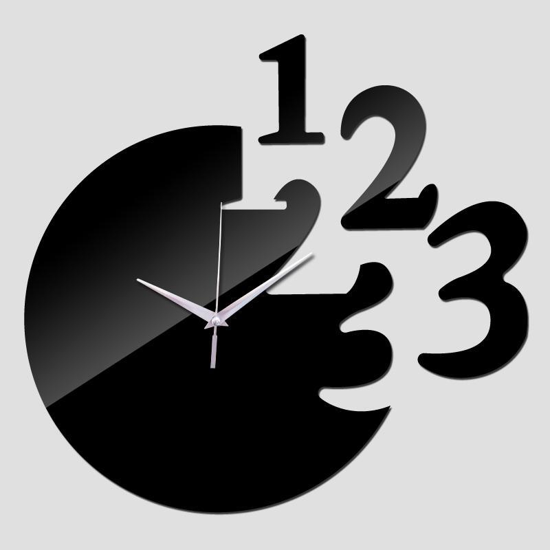 2016 yeni sıcak satış oturma odası duvar saati saatler horloge İzle 3d akrilik ayna çıkartmalar horloge murale ücretsiz kargo TY1919
