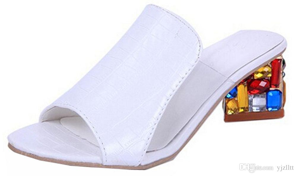 Free Shipping Fashion Women sandals for Lady shoes Slipper Rhinestone high wedge flip flops open toe shoes sandals EU34-41