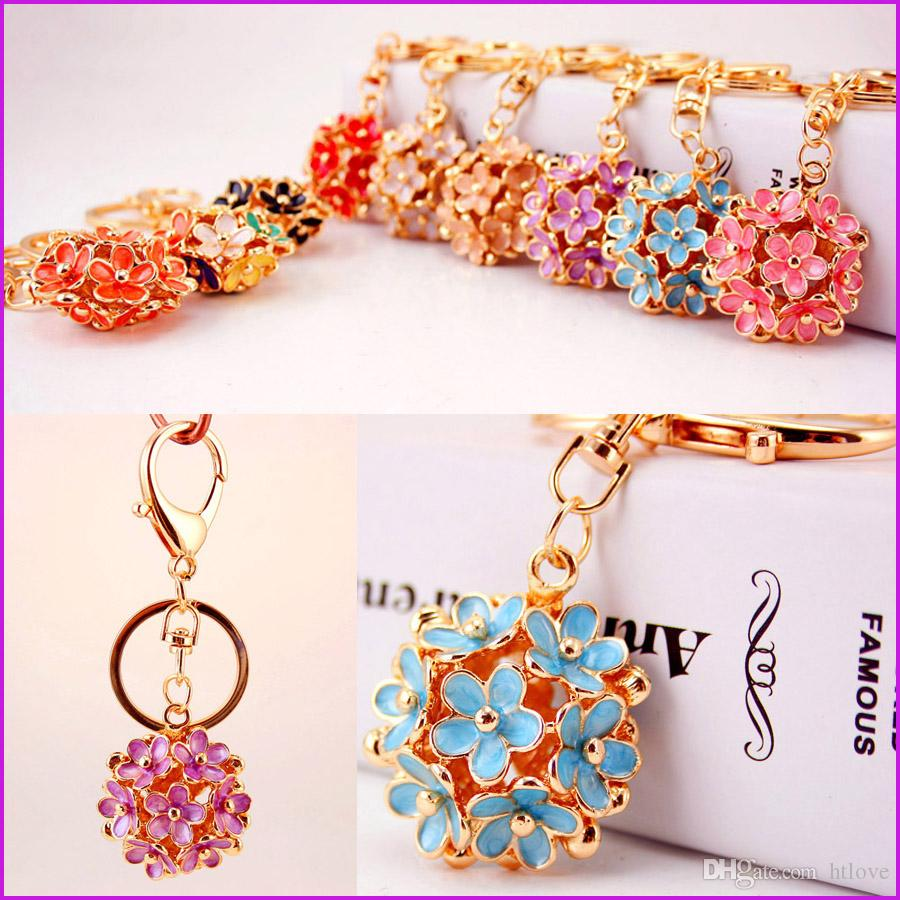 Gold Color Flower Brand Keyring Key Chain Fashion Metal Car Keychain Women Gift Key Ring Charms Pendant Jewelry