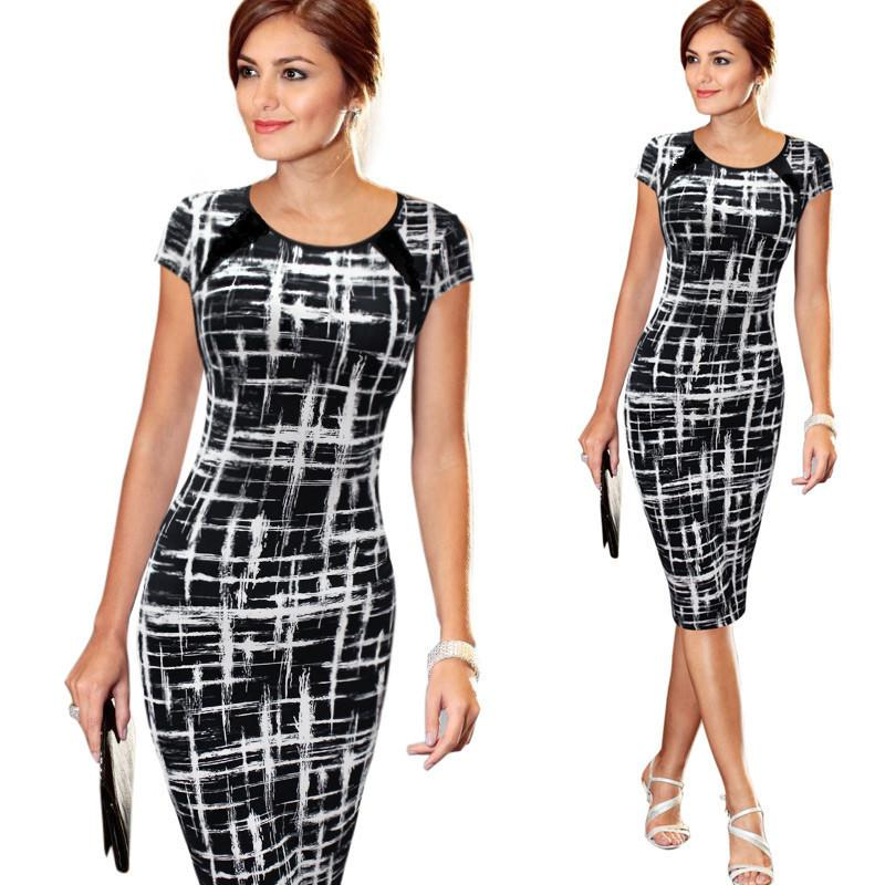 Women's 2016 Spring Summer Printed Synthetic Leather Wear to Work Office Business Casual Pencil Dress Bodycon Stretch Fitted Dress vestidos