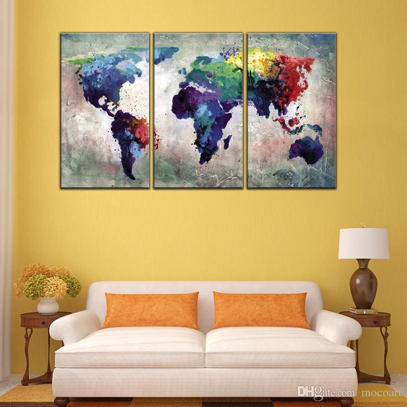 2019 3 Panles Abstract Color Map Canvas Paintings World Map Pictures Prints On Canvas No Frame Wall Art Painting For Home Decor From Mocoart 69 05