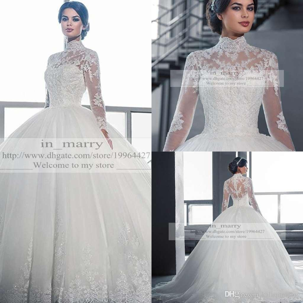 Victorian Arabic Long Sleeves Ball Gown Wedding Dresses Princess