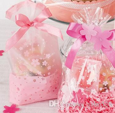 Pink Cherry Cookie Bag,Plastic Semi Clear Cellophane Flat Open,For Bakery Gift Wedding Party Favors Packaging,16x26cm