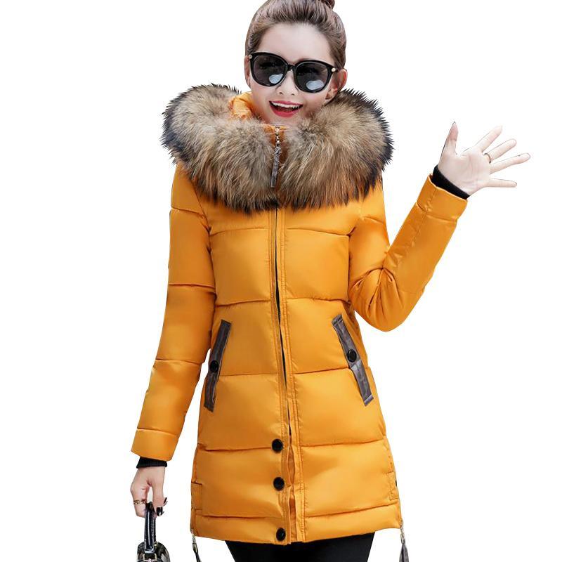 2017 меховой воротник большой размер 3XL женщины зима с капюшоном пальто Женская верхняя одежда куртка дамы теплая длинная куртка тонкий jaqueta feminina q171118
