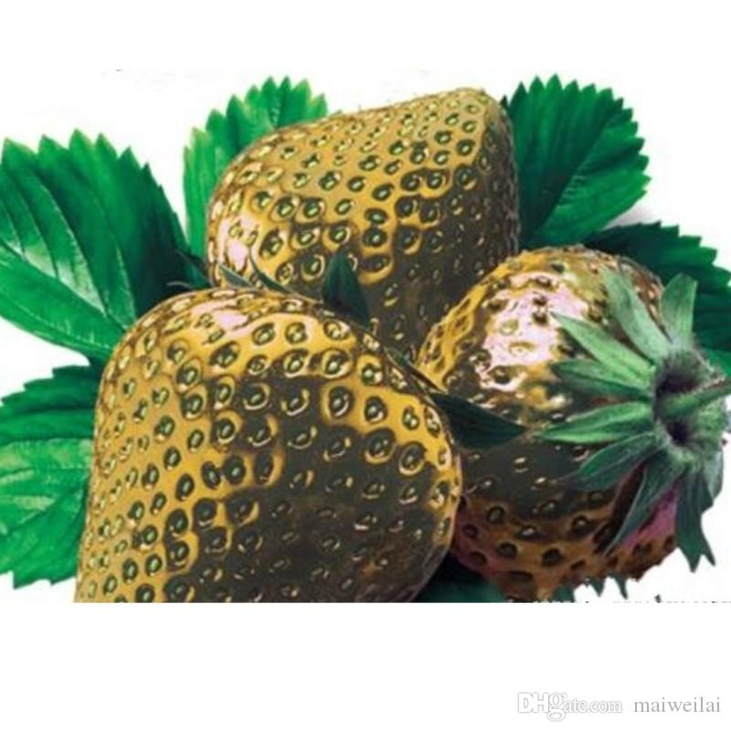 100 Pcs/pack Gold Strawberry Seeds Courtyard Garden With Fruit And Vegetable Seeds Potted Home Garden Planting Bonsai