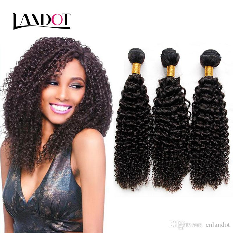 Cambodian Kinky Curly Virgin Hair With Closure 7A Grade Unprocessed Human Hair Weave 3 Bundles And 1Pcs Top Lace Closures Natural Black Weft