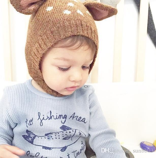 New Autumn Winter Cute Infant Baby Cartoon Deer Ears Hat Kids Knitted Cap Girls Boys Warm Beanies Child Babies Hats M73