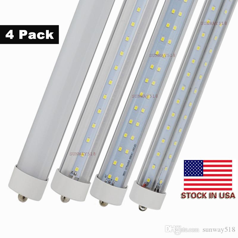 Stock In US + 8 Feet Single Pin FA8 T8 LED Tube Lights 45 LED Fluorescent Tube Lamps 5000K Clear Cover (25 - Pack)