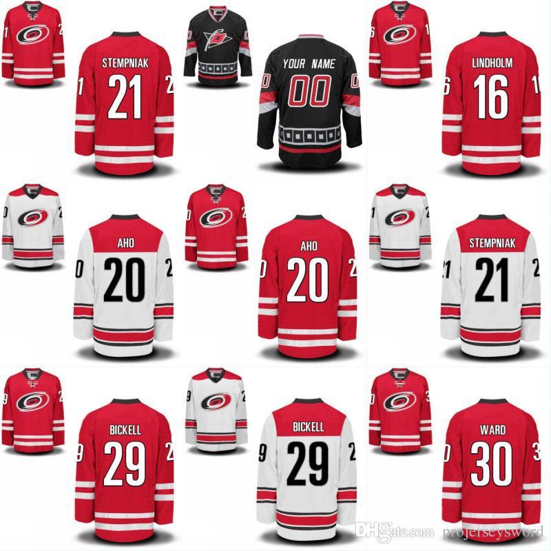 Jugend Carolina Hurricanes Jersey 20 Sebastian Aho 21 Lee Stempniak 28 Alexander Semin 29 Andrew Poturalski 53 Jeff Skinner Hockey-Trikots