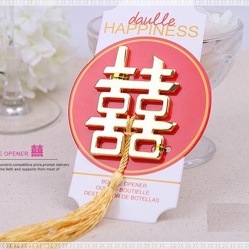 Libero Laser Cut doppio di modo di trasporto Felicità apribottiglie favore per il partito di nozze cinese favori e regali per gli ospiti