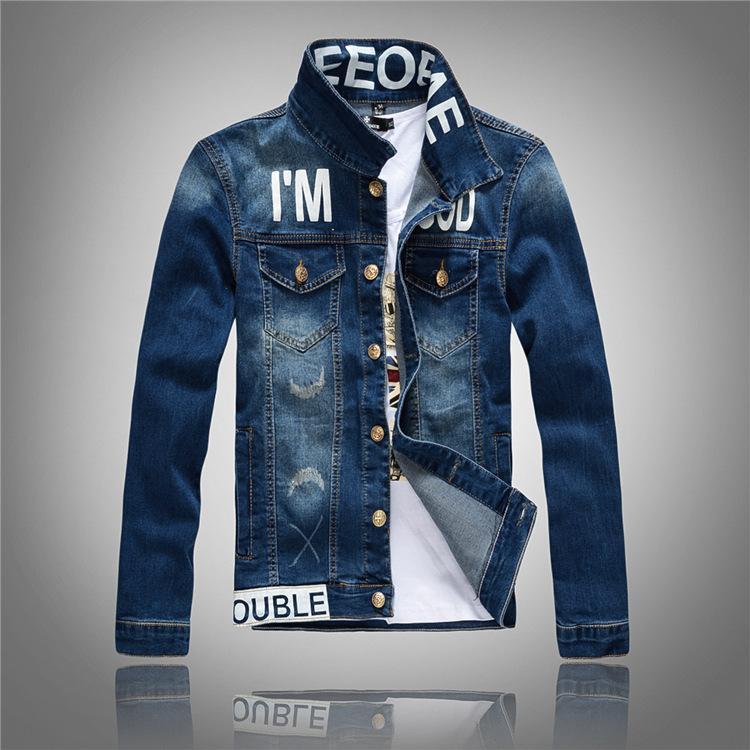 Großhandel Männer Denim Jacke Hohe Qualität Mode Druck Jeans Jacken Slim Fit Casual Streetwear Vintage Herren Jeanskleidung Plus Uns Größe XS XL Von