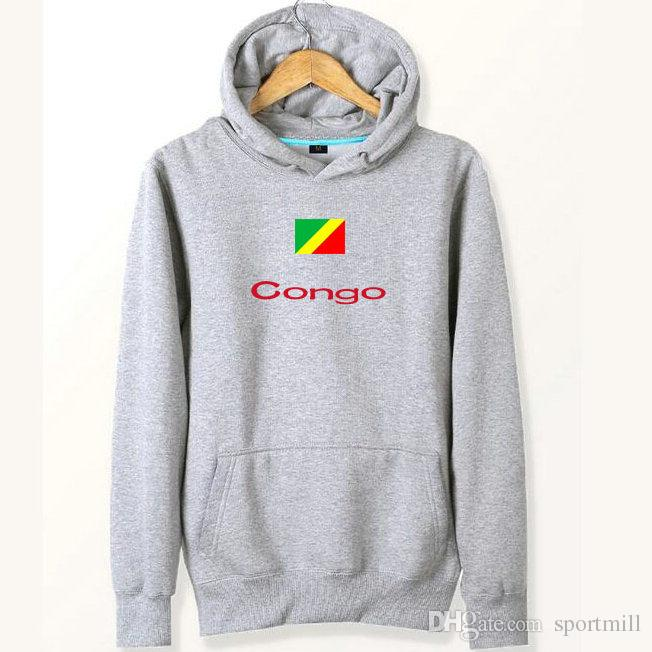 Congo flag hoodies Banner gray red black sweat shirts Country fleece clothing Pullover sweatshirts Outdoor sport coat Brushed jackets
