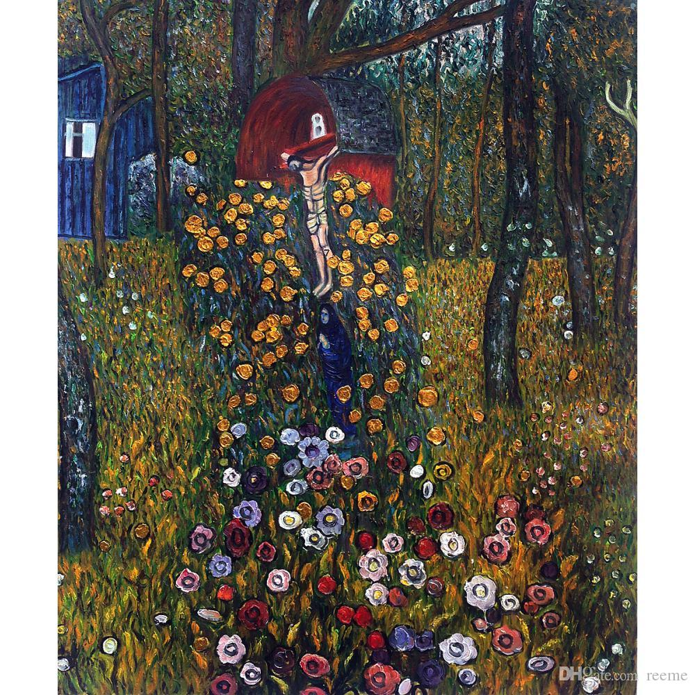 Acquista Gustav Klimt Opere Darte Riproduzione Cottage Garden Con  Crocifisso Luxury Line Pittura A Olio Su Tela Decorazione A Parete Fatta A  Mano Di Alta Qualità A 88,9 € Dal Reeme
