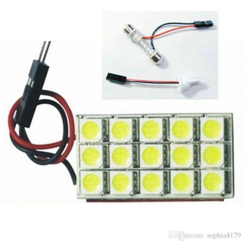Hight quality 20PCS Festoon led 5050 15 LED 15smd Cúpula Interior bombillas panel de coche bombilla con adaptador Festoon