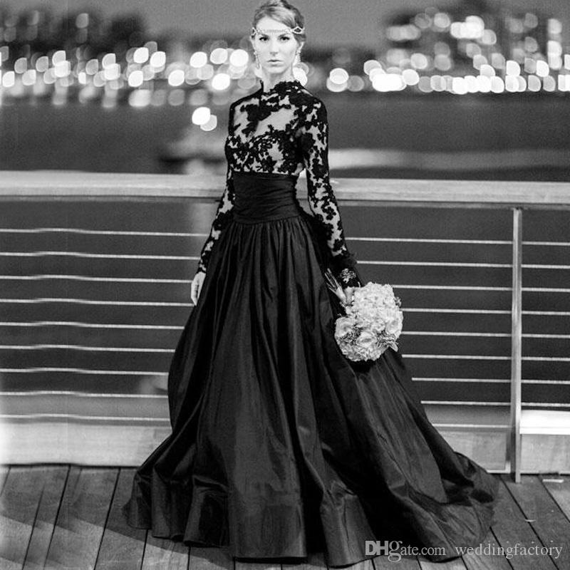 Sexy Black Wedding Dresses Cheap Gothic Bridal Gowns A Line Illusion Long Sleeve Lace Appliques Sheer Top Taffeta Skirt Formal Wear