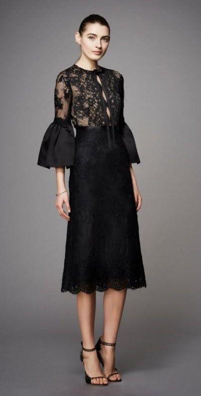 2019 Modest Black Tea Longueur Robes De Soirée Avec Manches Applique Dentelle de Haute Qualité Robe De Soirée De Mariée Dames Robe De Cocktail