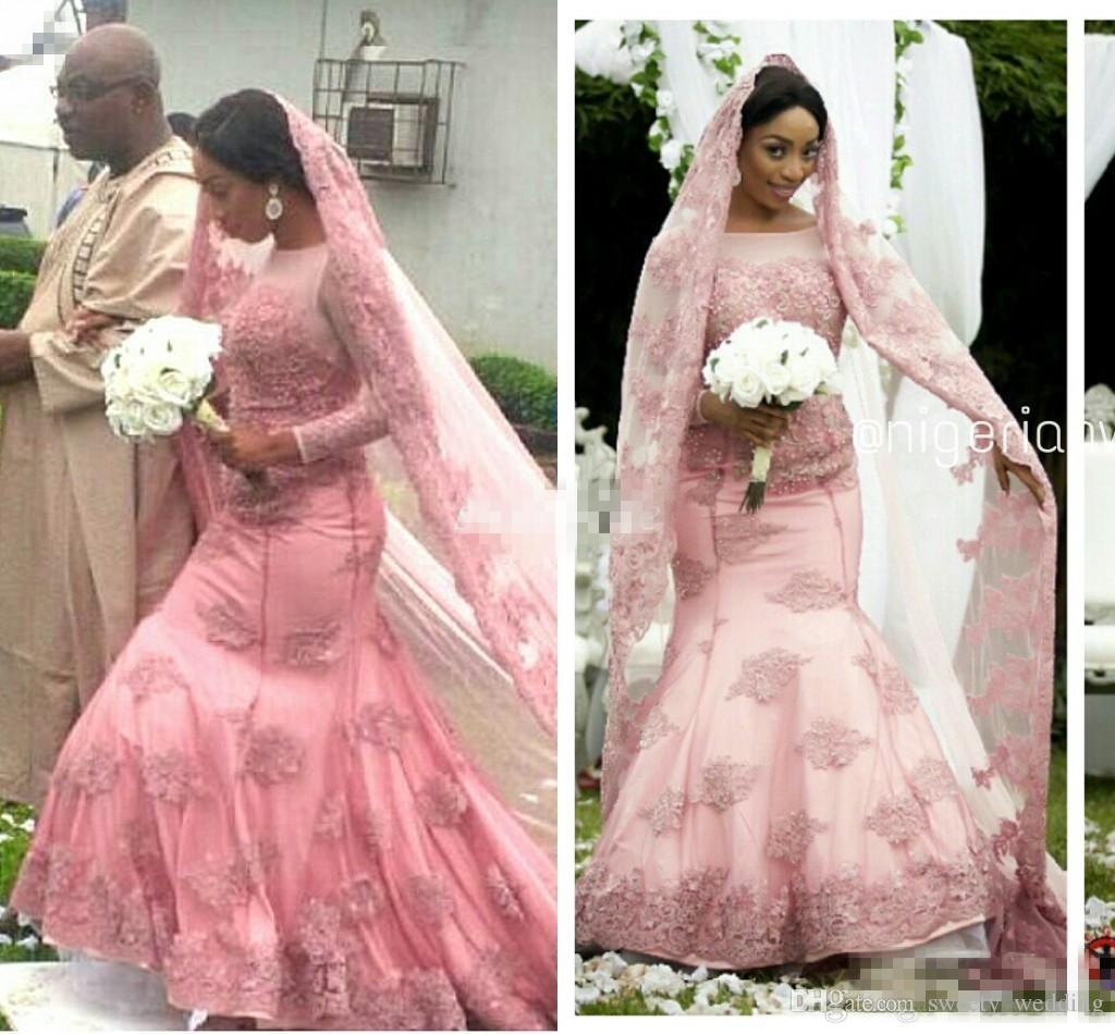 2016 Winter Plus Size Wedding Dresses Mermaid Long Sleeve Blush Pink Bateau  Sheer Neck Vintage Lace Arabic Nigerian Bridal Wedding Gown Mermaid ...