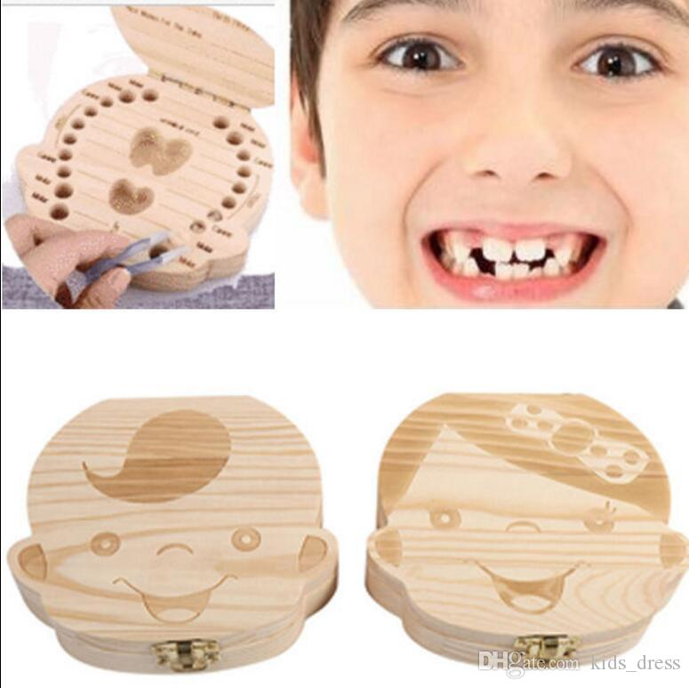 Tooth Box Kids Baby Save Milk Teeth Wood Storage Box For Boy Girl Box