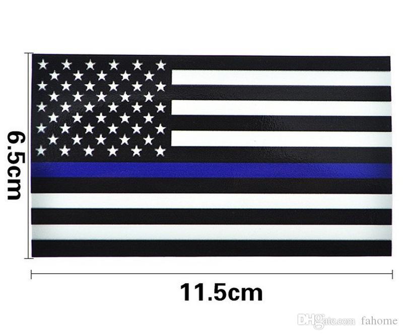 Pegatinas de calcomanía de la bandera de los EE. UU. De la línea azul delgada para camiones de autos - 2.5 * 4.5 pulgadas EE. UU. Etiqueta de la bandera de EE. UU. Para la ventana del coche