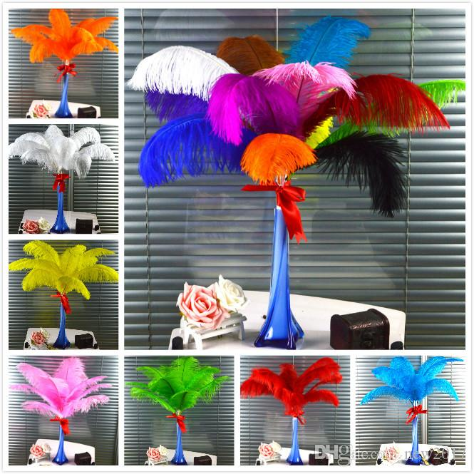 CHINAZP Factory New 100 Hot Sellling 25-30cm(10-12inch) DIY Ostrich Feathers Plume Centerpiece for Wedding Party Decorations