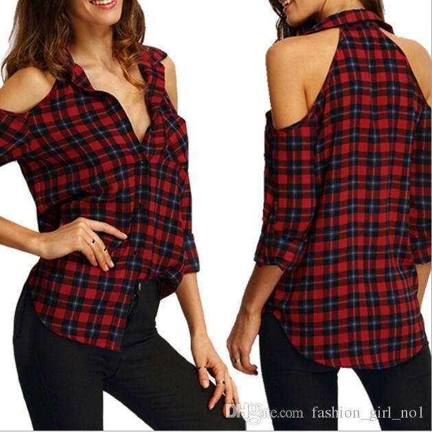 Осень 2017 новая мода женщин решетки печати Рубашки повседневная свободная футболка с длинными рукавами плюс размер Блузки