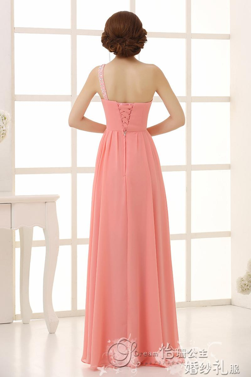 New 2016 Fashion Chiffon One Shoulder Lace Up Bridesmaid Dresses ...