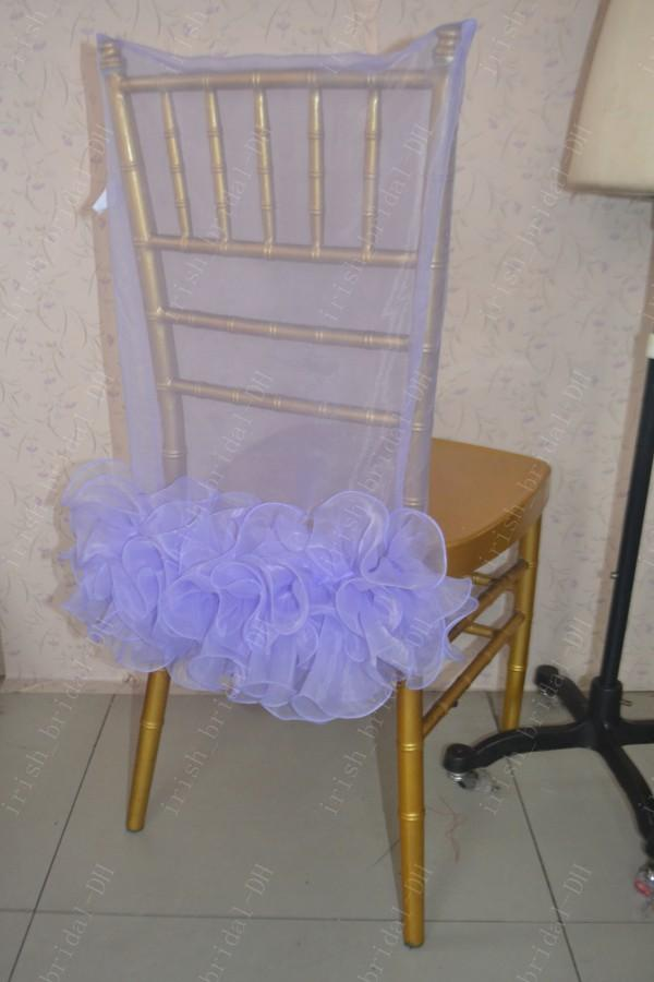 2016 Custom Made Lavender Organza Ruffles Chair Covers Romantic Beautiful Chair Sashes Cheap Wedding Chair Decorations 021