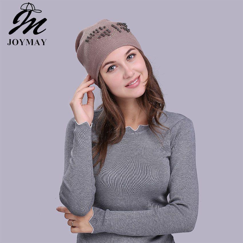Joymay Brand Female Rabbit Beanie Bonnet Capas de invierno y otoño Rhinestone sombreros para mujeres Gorros Balaclava Lady Skullies W236 9 colores