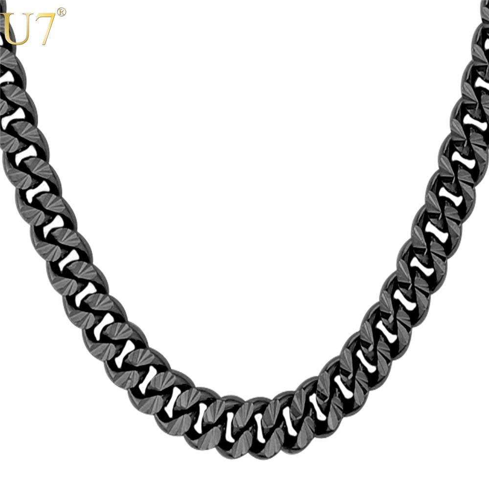 unique New Black Gun Plated Long Necklace For Men Fashion Jewelty Trendy 6 Size 7MM Cuban Link Chain Necklaces Men Jewelry N560