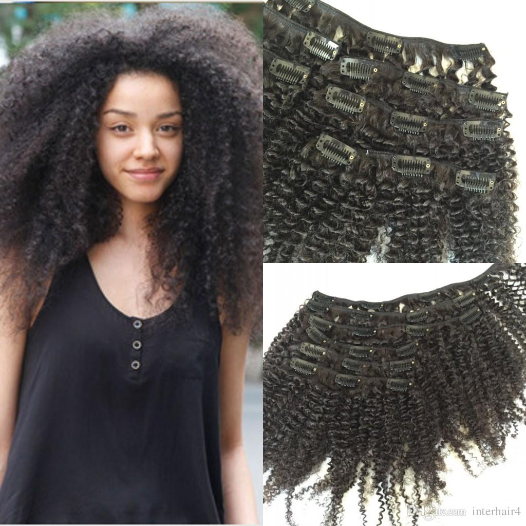 new style brazilian virgin curly hair weft clip in human hair extensions unprocessed natural black color 7pcs 1set afro kinky curl