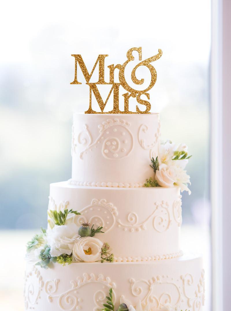 Compre Glitter Goldensilver Sr. Y Señora Cake Topper Boda Elegante ...