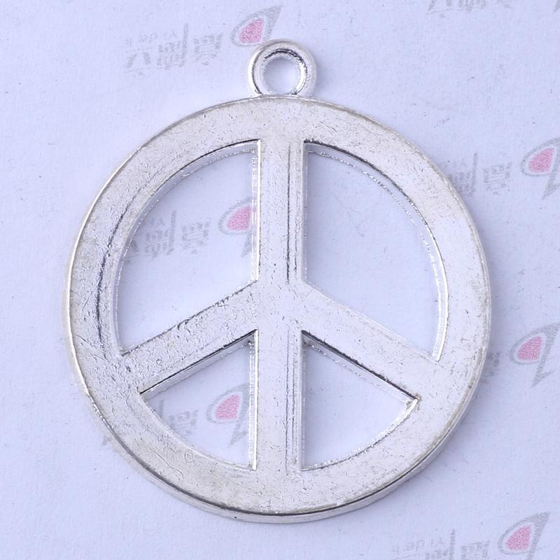 Antiguo encanto de plata / bronce marca de la paz colgante Fabricación DIY joyería colgante collar o pulseras encanto 50pcs / lot 3391