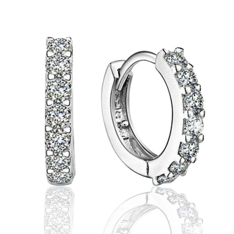 925 sterling silver small hoop earrings with zircon fashion jewelry engagement gift for women free shipping good quality
