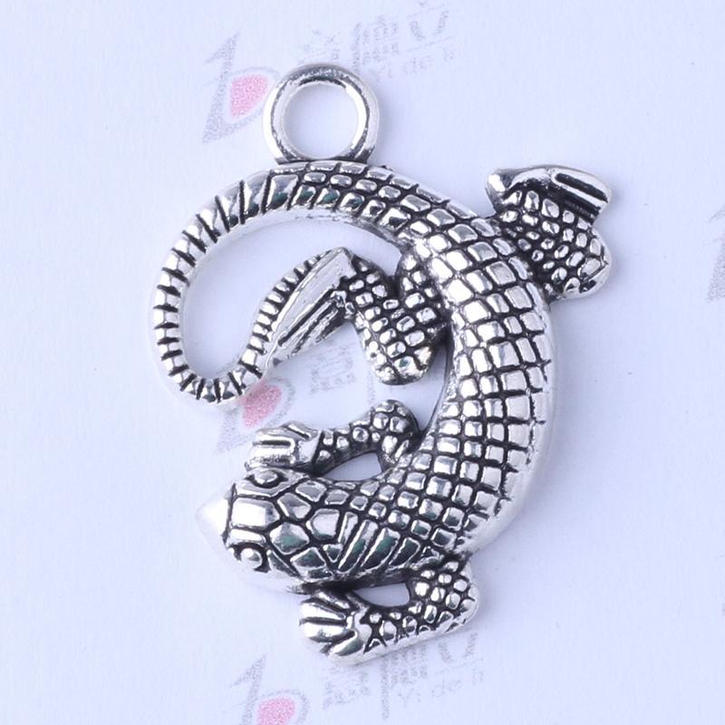 Charms Gecko antique argent / bronze 30 * 25.3 * 4.2mm bricolage Vintage pendentif bricolage fabrication de bijoux 75pcs / lot 3445