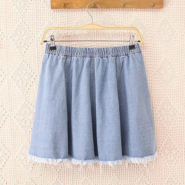 2017 3xl Lady Soft Denim Skirt Xxl 2016 Women Plus Size Hole Denim ...