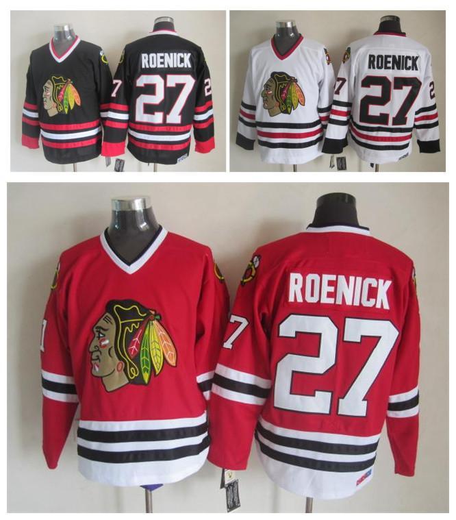 Top Qualität ! Männer Chicago Blackhawks Eishockey Trikots Günstige 27 Jeremy Roenick Retro Vintage CCM Authentische Genähte Jerseys Mischungsauftrag