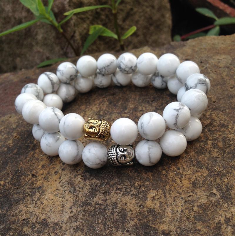 SN0381 10mm natuurlijke witte turquoise armband gouden boeddha kralen armband boeddhistische mala yoga sieraden voor de mens