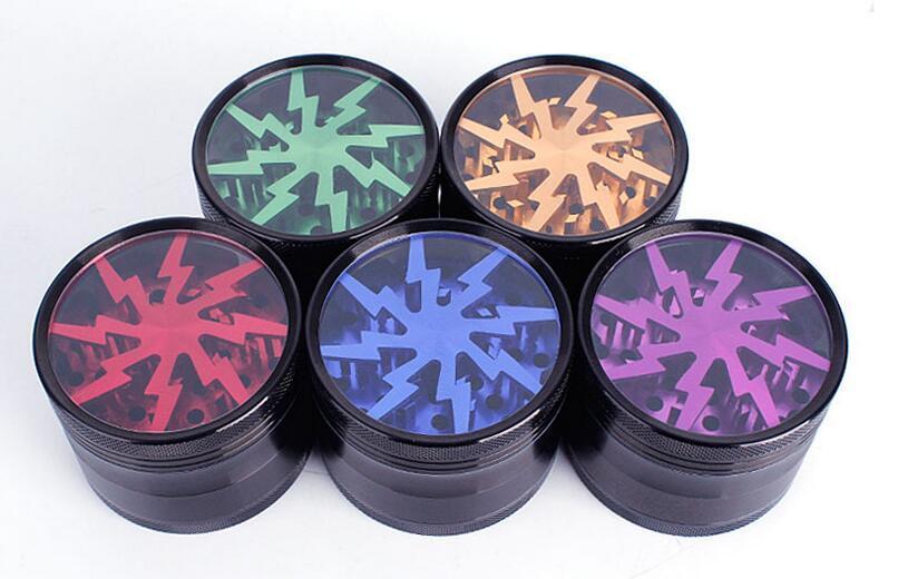 100% Original Herb Grinders Les broyeurs en alliage d'aluminium 63mm peuvent faire l'OEM avec la fenêtre supérieure claire d'éclairage de la meuleuse VS Sharpstone