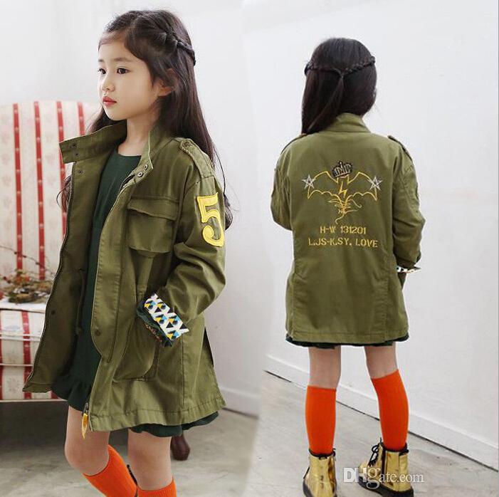 ad41cf840 Girls Jacket Children Clothing Kids Spring Autumn Child Medium Long ...