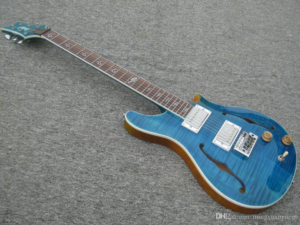 A New Brand Electric RPS Guitar see thru blue with tigerflame on body top. China guitarm,high quality. mini shape body can be cusotoimsed!