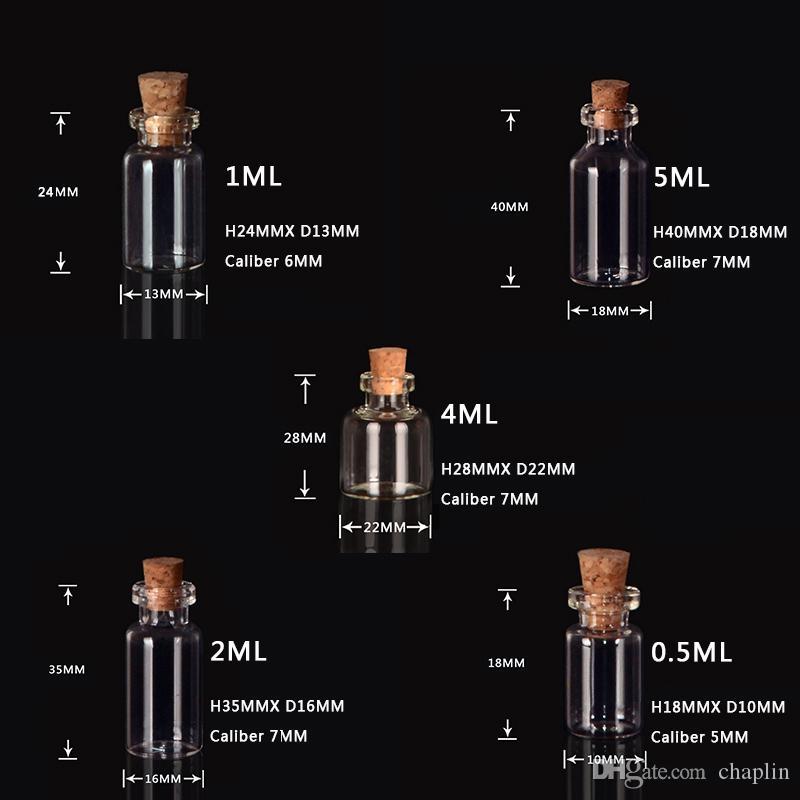 0.5 ml 1 ml 2 ml 4 ml 5 ml frascos de garrafa de vidro transparente com rolhas de garrafa de vidro em miniatura com rolha vazio frascos de amostra / mensagem casamentos desejo jóias