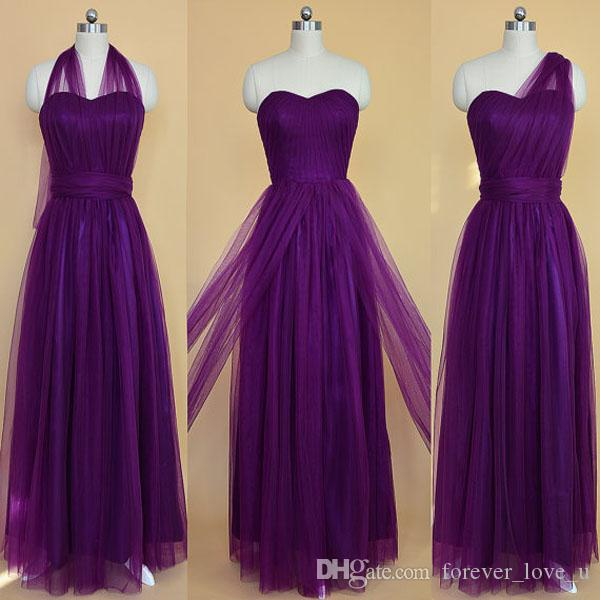 Gorgeous Convertible Bridesmaid Dresses Long Formal Purple Tulle Wedding Party Maid of Honor Gowns Sweetheart Neck Halter One Shoulder