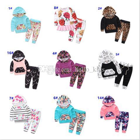 2017 Vente Chaude Enfants Tenues Date Automne Garçons Fille Bébé À Manches Longues Hoodies Manteau + Pantalon 2 Pcs Set.Kids Floral Suits