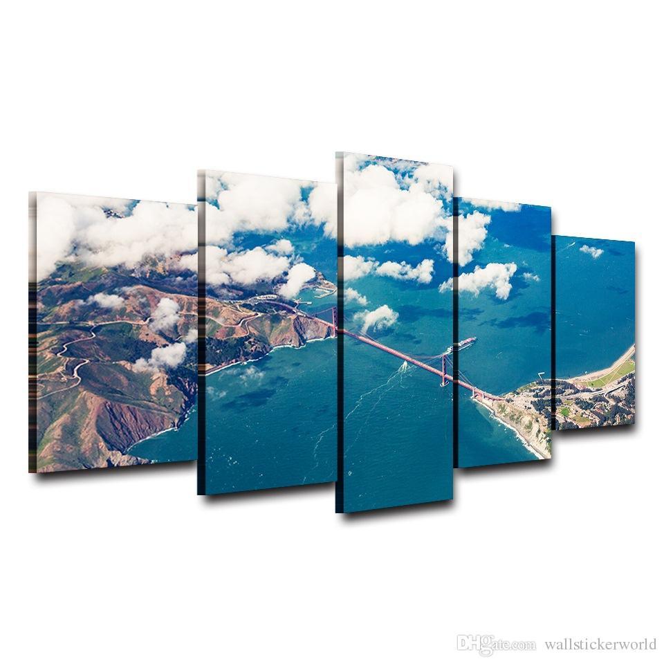 Großhandel 5 Stück / Set Golden Gate Bridge Spray Ölgemälde ...